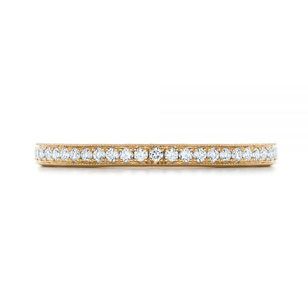 Custom Diamond and Yellow Gold Wedding Band - Top View -  102237 - Thumbnail