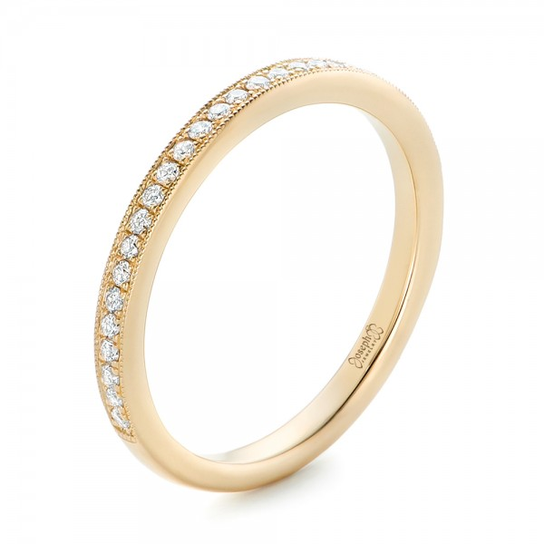 High Quality Custom Diamond And Yellow Gold Wedding Band   Three Quarter View   102237    Thumbnail ...