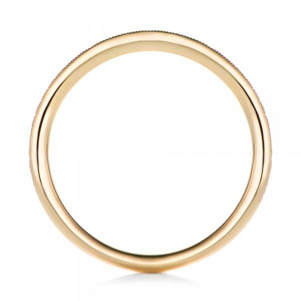 Custom Diamond and Yellow Gold Wedding Band - Finger Through View