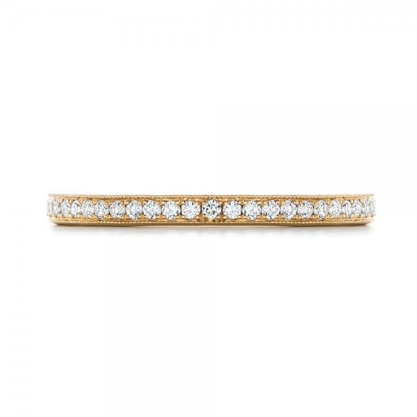 Custom Diamond and Yellow Gold Wedding Band - Top View