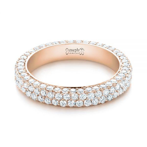 Wedding Bands For Less: 14K Rose Gold Custom Edge-less Pave Diamond Eternity