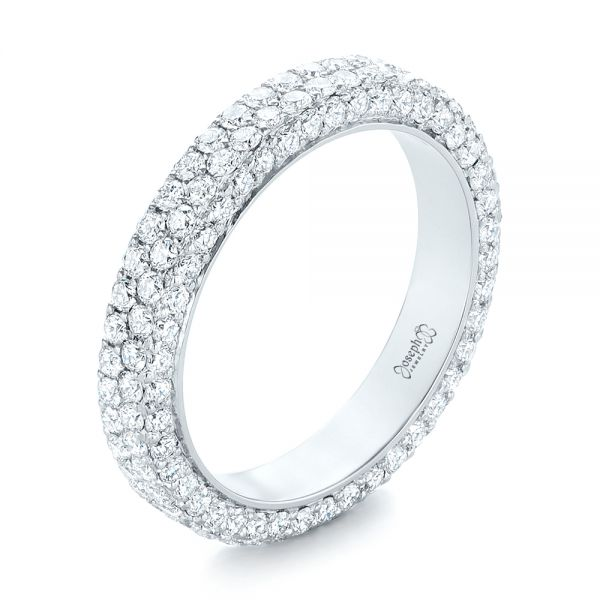 Custom Edge-Less Pave Diamond Eternity Wedding Band - Image