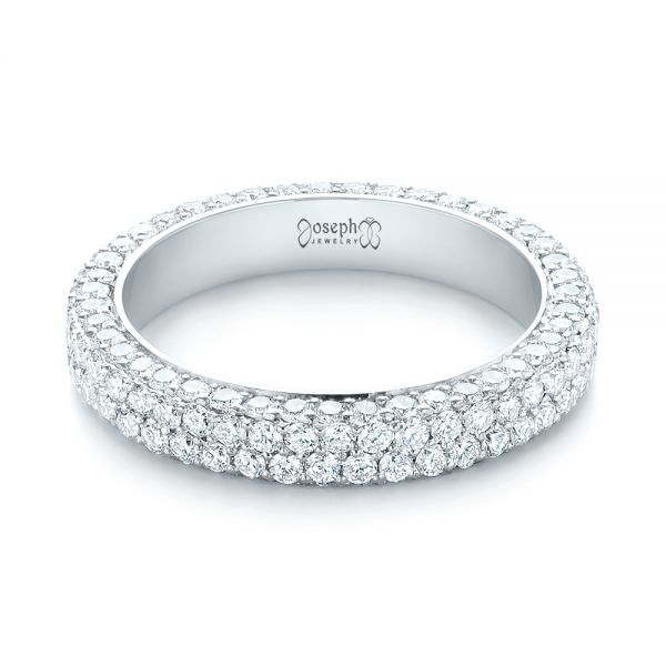 18k White Gold 18k White Gold Custom Edge-less Pave Diamond Eternity Wedding Band - Flat View -  103475