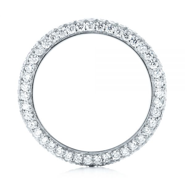 18k White Gold 18k White Gold Custom Edge-less Pave Diamond Eternity Wedding Band - Front View -  103475