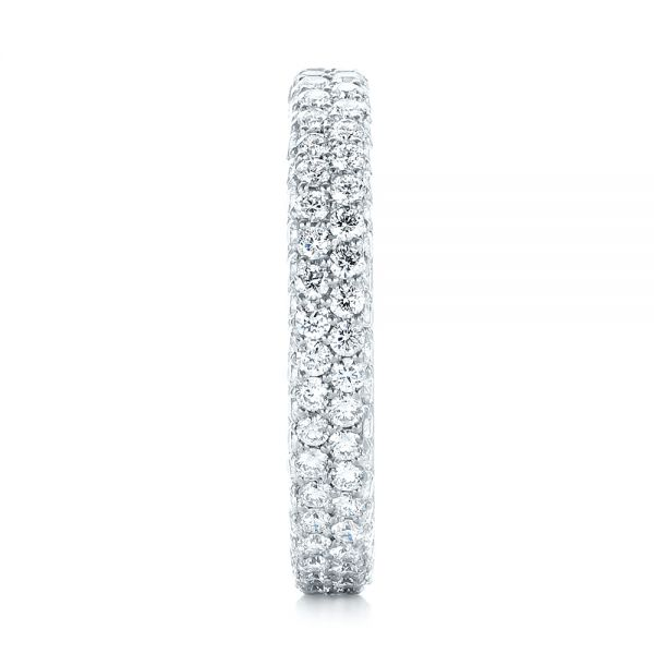 18k White Gold 18k White Gold Custom Edge-less Pave Diamond Eternity Wedding Band - Side View -  103475