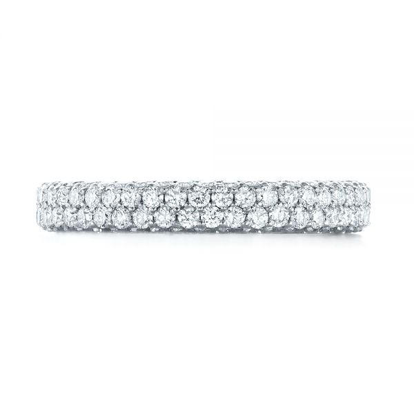 18k White Gold 18k White Gold Custom Edge-less Pave Diamond Eternity Wedding Band - Top View -  103475