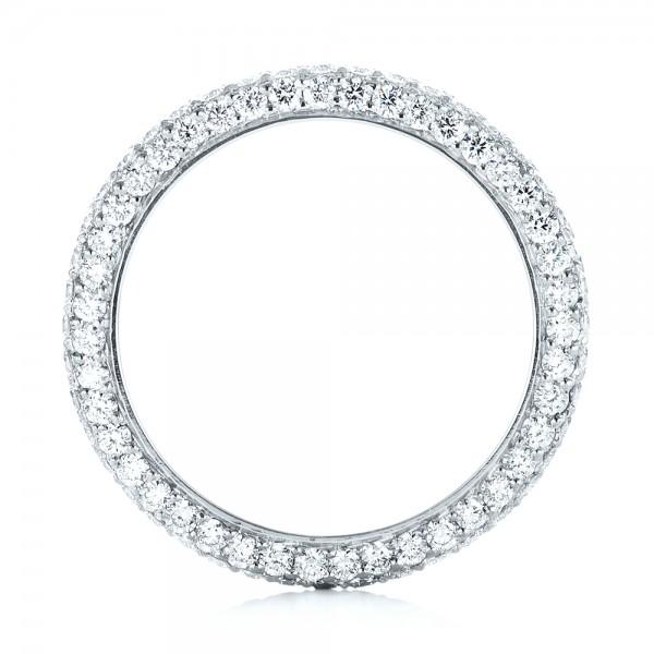 Custom Edge-Less Pave Diamond Eternity Wedding Band - Finger Through View