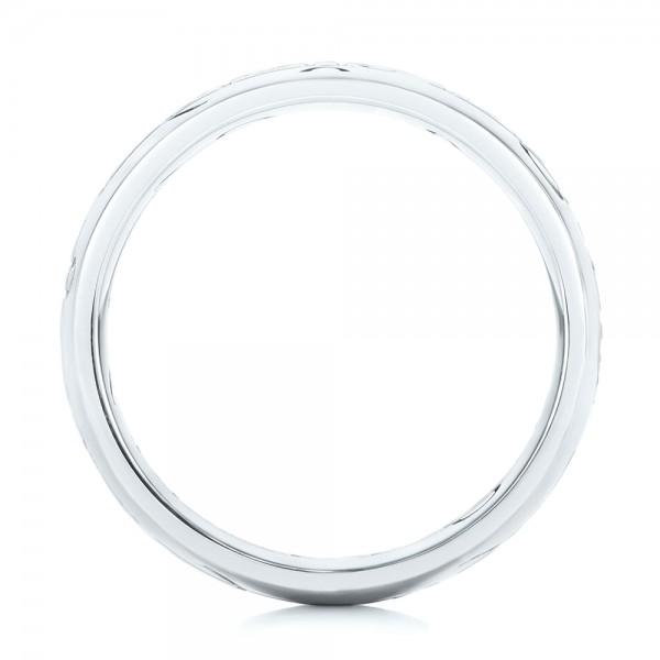 Custom Engraved Wedding Band - Finger Through View