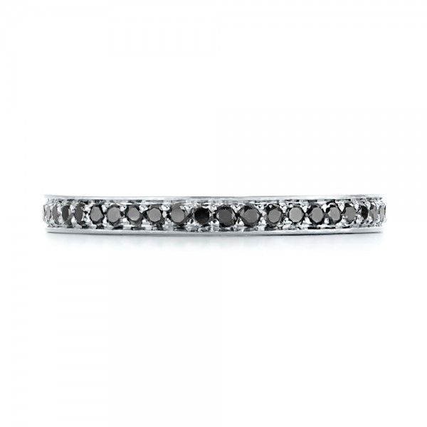 14k White Gold Custom Eternity Black Diamond Wedding Band - Top View -