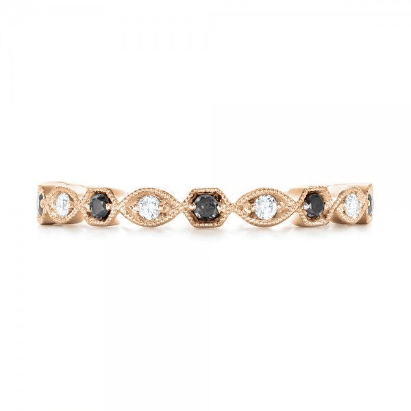 18k Rose Gold 18k Rose Gold Custom Eternity Black And White Diamond Wedding Band - Top View -