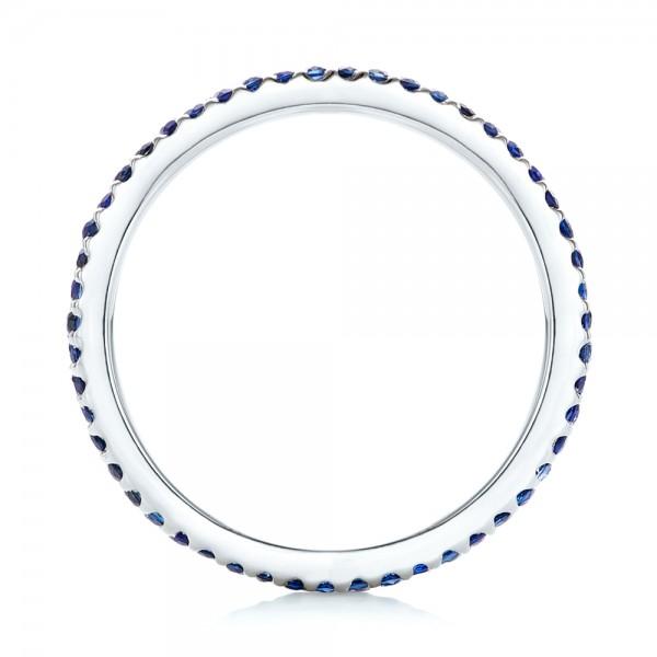 Custom Eternity Blue Sapphire Anniversary Band - Finger Through View
