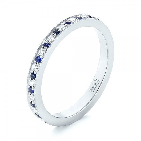 Custom Eternity Blue Sapphire and Diamond Wedding Band - 3/4 View