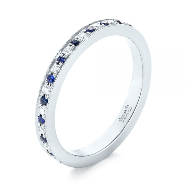 Custom Eternity Blue Sapphire and Diamond Wedding Band - Image