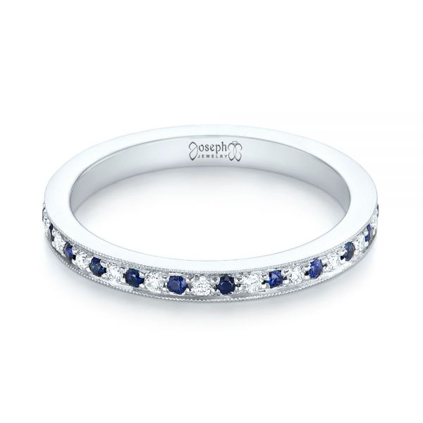 14k White Gold Custom Eternity Blue Sapphire And Diamond Wedding Band - Flat View -