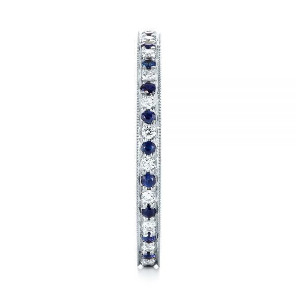 14k White Gold Custom Eternity Blue Sapphire And Diamond Wedding Band - Side View -