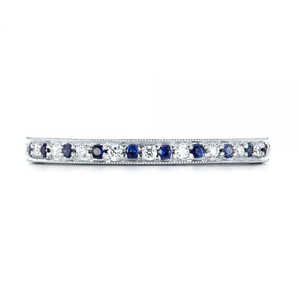 14k White Gold Custom Eternity Blue Sapphire And Diamond Wedding Band - Top View -