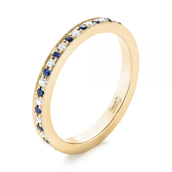14k Yellow Gold 14k Yellow Gold Custom Eternity Blue Sapphire And Diamond Wedding Band - Three-Quarter View -
