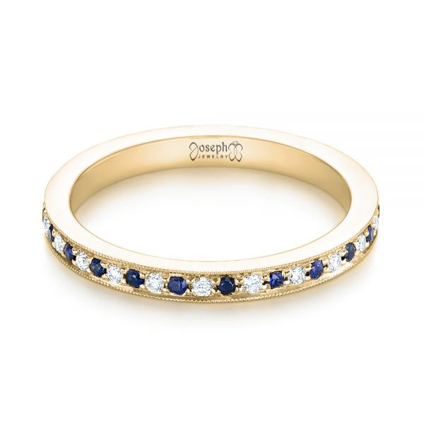 14k Yellow Gold 14k Yellow Gold Custom Eternity Blue Sapphire And Diamond Wedding Band - Flat View -