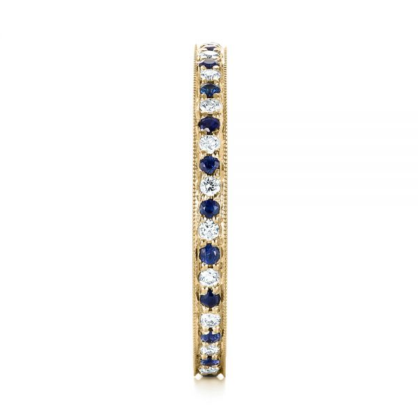 14k Yellow Gold 14k Yellow Gold Custom Eternity Blue Sapphire And Diamond Wedding Band - Side View -