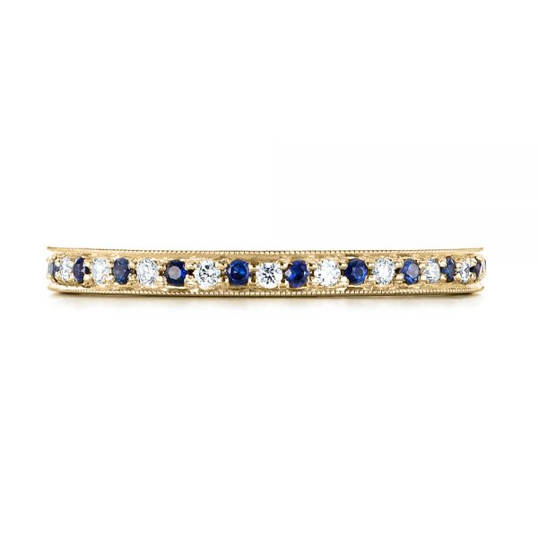 14k Yellow Gold 14k Yellow Gold Custom Eternity Blue Sapphire And Diamond Wedding Band - Top View -