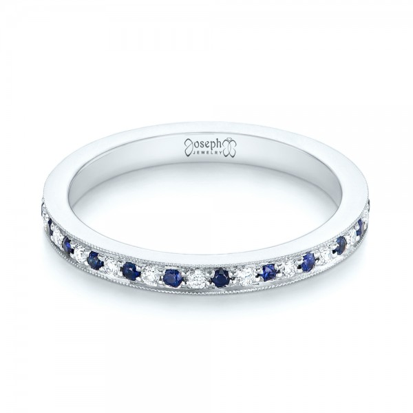 Custom Eternity Blue Sapphire and Diamond Wedding Band - Laying View
