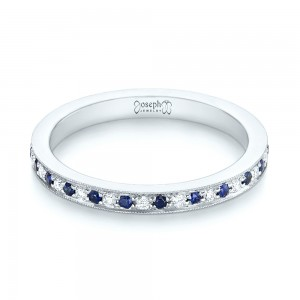 Custom Eternity Blue Sapphire and Diamond Wedding Band