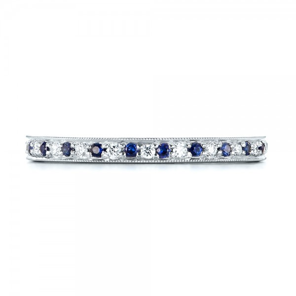 Custom Eternity Blue Sapphire and Diamond Wedding Band - Top View