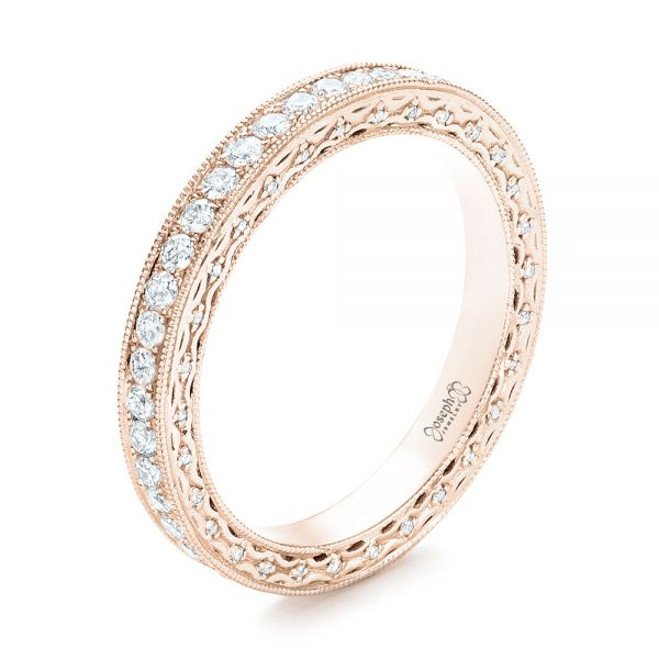 14k Rose Gold 14k Rose Gold Custom Eternity Diamond Wedding Band - Three-Quarter View -  103304