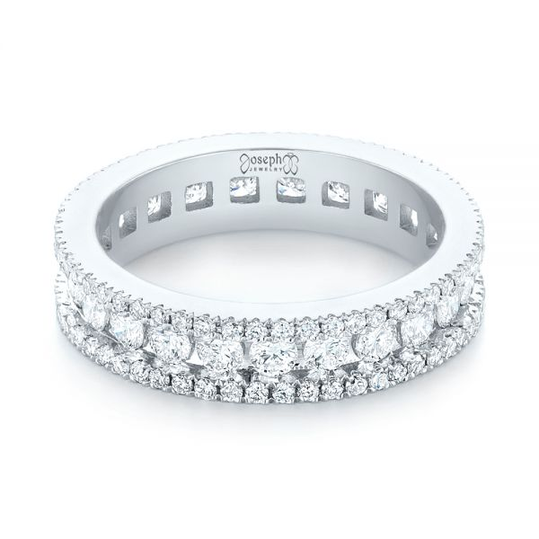 14k White Gold Custom Eternity Diamond Wedding Band - Flat View -  103479