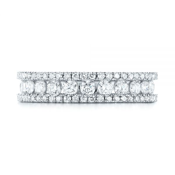 14k White Gold Custom Eternity Diamond Wedding Band - Top View -  103479