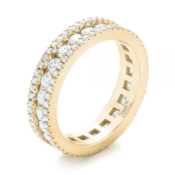 14k Yellow Gold 14k Yellow Gold Custom Eternity Diamond Wedding Band - Three-Quarter View -