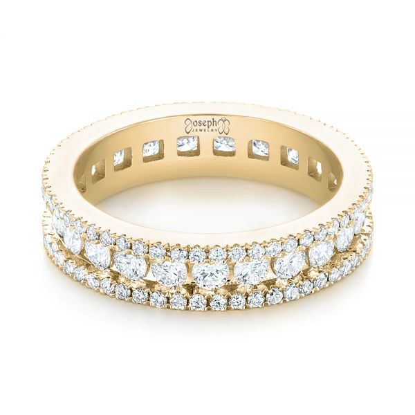 14k Yellow Gold 14k Yellow Gold Custom Eternity Diamond Wedding Band - Flat View -