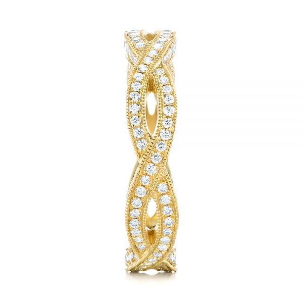 14k Yellow Gold 14k Yellow Gold Custom Eternity Diamond Wedding Band - Side View -