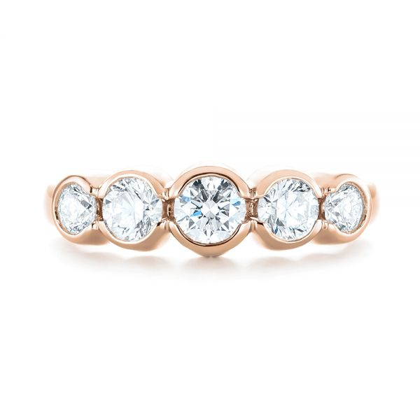 14k Rose Gold 14k Rose Gold Custom Five Stone Diamond Anniversary Band - Top View -