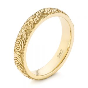 Custom Floral Engraved Wedding Band - Image