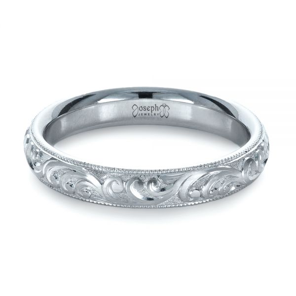 Platinum Custom Hand Engraved Band - Flat View -