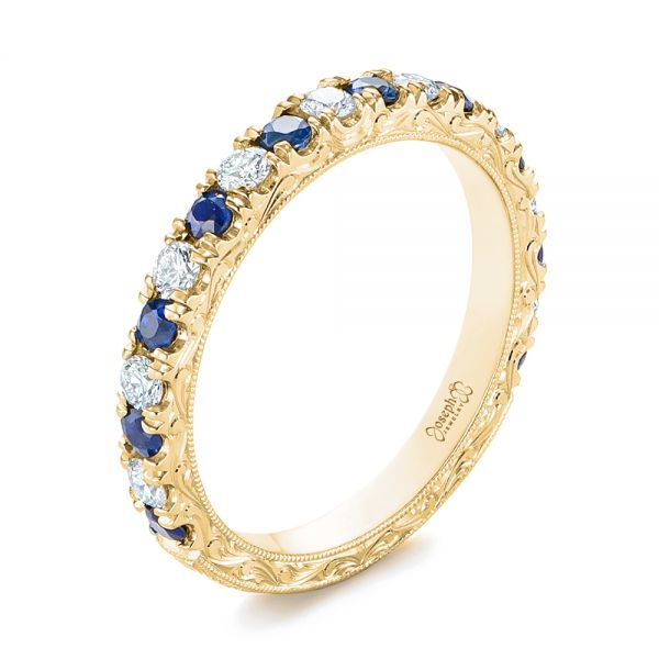 14k Yellow Gold 14k Yellow Gold Custom Hand Engraved Blue Sapphire And Diamond Wedding Band - Three-Quarter View -