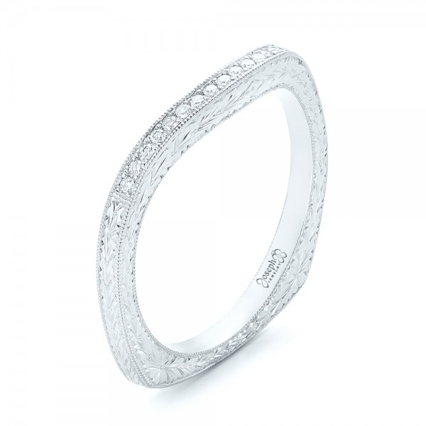 Custom Hand Engraved Diamond Wedding Band