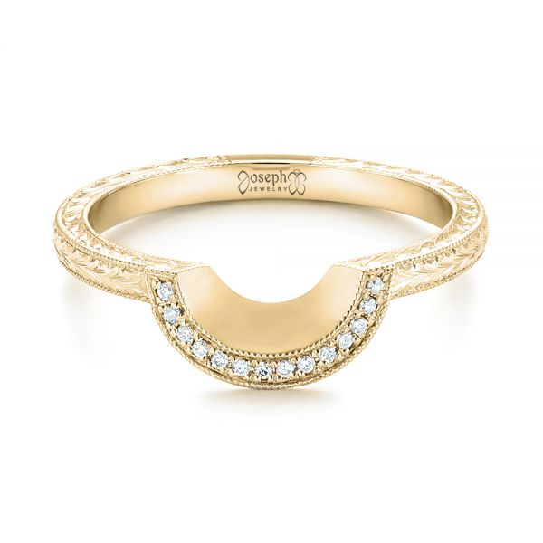 18k Yellow Gold 18k Yellow Gold Custom Hand Engraved Diamond Wedding Band - Flat View -