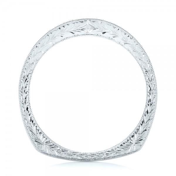 Custom Hand Engraved Diamond Wedding Band - Finger Through View