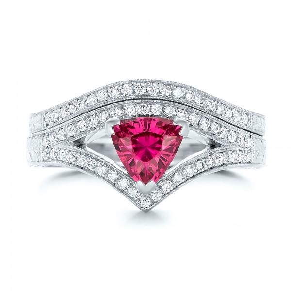 Custom Hand Engraved Diamond Wedding Band - Top View