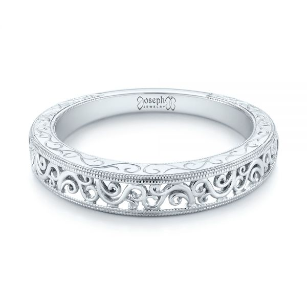 Custom Hand Engraved Filigree Wedding Band - Flat View -  103341 - Thumbnail