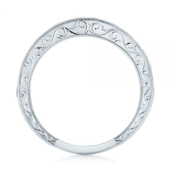 Custom Hand Engraved Filigree Wedding Band - Front View -  103341 - Thumbnail