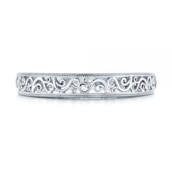 Custom Hand Engraved Filigree Wedding Band - Top View -  103341 - Thumbnail