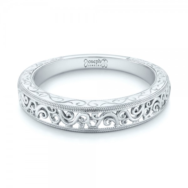 Custom Hand Engraved Filigree Wedding Band - Laying View