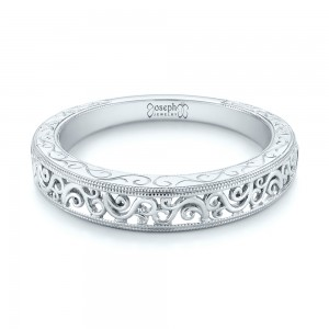 Custom Hand Engraved Filigree Wedding Band