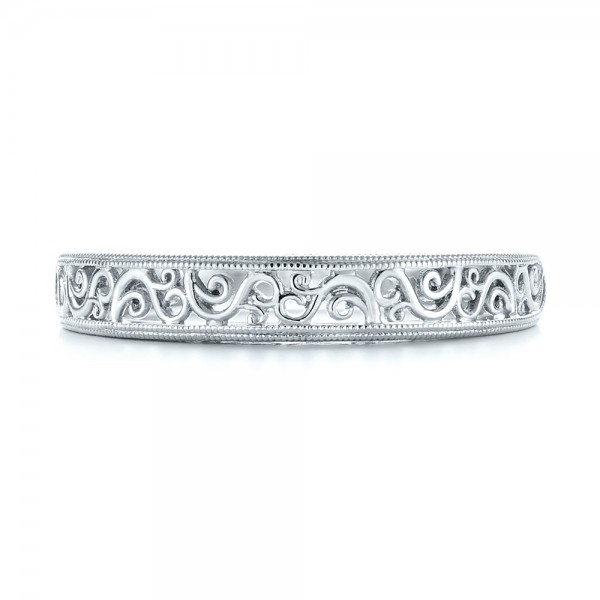 Custom Hand Engraved Filigree Wedding Band - Top View