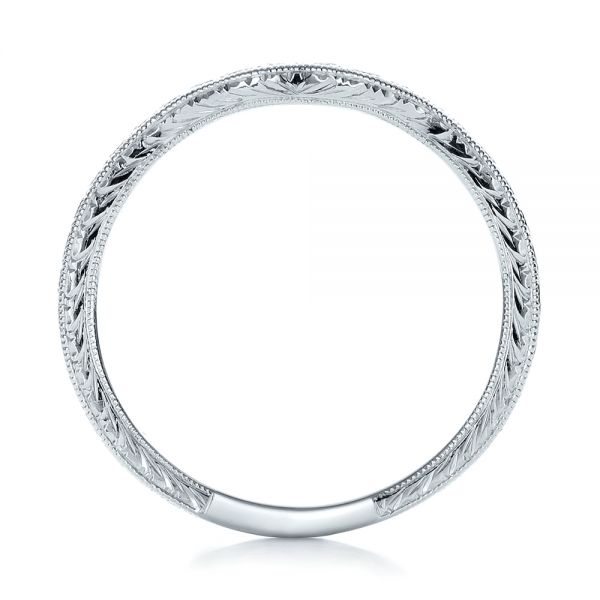 14k White Gold Custom Hand Engraved Wedding Band - Front View -