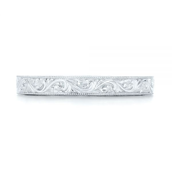 Platinum Custom Hand Engraved Wedding Band - Top View -  102850
