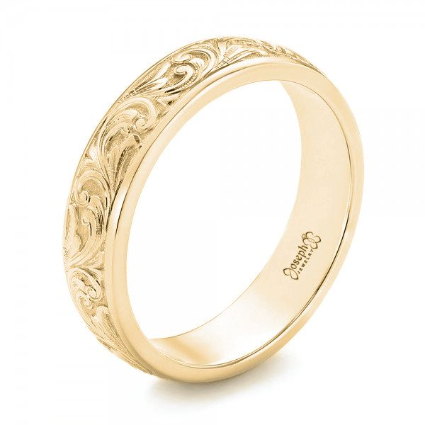 18k Yellow Gold 18k Yellow Gold Custom Hand Engraved Wedding Band - Three-Quarter View -